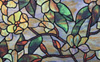 Stained Glass Green Flowers Static Cling Window Film