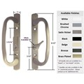"Sliding Glass Patio Door Handle Set, Mortise Type, Keyed, Satin Nickel, 3-15/16"" Screw Holes"