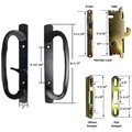 Sliding Glass Patio Door Handle Kit with Mortise Lock and Keepers, B-Position. Black, Non-Keyed