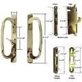 Sliding Glass Patio Door Handle Kit with Mortise Lock and Keepers, B-Position, Brass-Plated, Non-Keyed