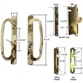Sliding Glass Patio Door Handle Kit with Mortise Lock and Keepers, B-Position, Brass-Plated, Keyed