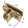 "Brass 3-Way Metal Adjustable Glass Display Connector for 1/8"", 3/16"" and 7/32"" Glass"