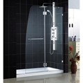 DreamLine DL-6331C-04CL AQUA LUX Clear Glass Shower Door & AMAZON Base Kit - 45 x 72 Shower Door with 30 x 60 Center Drain Base, Brushed Nickel