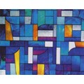 "Abstract Stained Glass Decorative Window Film 36"" Wide x 6.5 Ft Long"