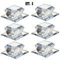 "Clear Acrylic Beveled Stick-On Mirror Knob - 2"" Square - Pack of 6"