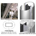 CRL Custom Polished Stainless Deluxe Series Elliptical Column Covers Four Panels Opposing