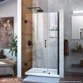 DreamLine SHDR-20387210S-09 Unidoor Min 38 in. to Max 39 in. Frameless Hinged Shower Door, Clear 3/8 in. Glass Door, Satin Black Finish