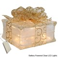 Battery Powered LED Lighted Glass Block with Sheer Gold Ribbon