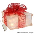 Battery Powered LED Lighted Glass Block with Sheer Red Ribbon