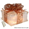 Battery Powered LED Lighted Glass Block with Sheer Copper Ribbon