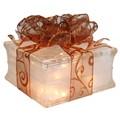Lighted Glass Block with Sheer Copper Ribbon