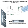 "Clear Shower Door Dual Durometer PVC Seal and Wipe for 1/4"" Glass - 32"" long with Free Bioelements Skin Care Sample"