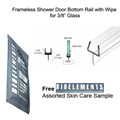 "Clear Shower Door One-Piece Bottom Rail With Clear Wipe for 3/8"" Glass  - 32"" long with Free Bioelements Skin Care Sample"