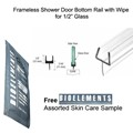 "Clear Shower Door One-Piece Bottom Rail With Clear Wipe for 1/2"" Glass  - 32"" long with Free Bioelements Skin Care Sample"