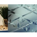 "Blue Bamboo Flowers Cut Glass Static Cling Window Film, 35"" Wide x 15 ft"