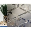 "Tinted Bamboo Flowers Cut Glass Static Cling Window Film, 35"" Wide x 10 ft"