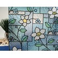 "Stained Glass Flowers Static Cling Window Film, 36"" Wide x 1 yd.  Sold by the yard as one continuous roll."