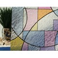 "Abstract Stained Glass Circles Static Cling Window Film, 36"" Wide x 1 yd.  Sold by the yard as one continuous roll."