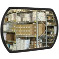"12"" x 18"" Acrylic Convex Roundtangular Mirror Indoor with Galvanized Back and Single Telescoping Bracket"