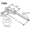 "STB Casement Window Operator, Left Hand, Rear Mount, Stainless Steel Roller, Beige, 7-1/2"" Long Arm"