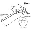 "STB Casement Window Operator, Right Hand, Rear Mount, Stainless Steel Roller, Beige, 7-1/2"" Long Arm"