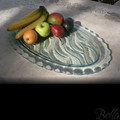 Venetian Cast Glass Oval Platter - River with Scalloped Edge Series - Small