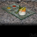 Venetian Cast Glass Sushi Platter - Wavy Split Series