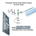"Clear Shower Door Bottom Seal with Drip Rail for 5/16"" Glass - 32"" long with Free Bioelements Skin Care Sample"