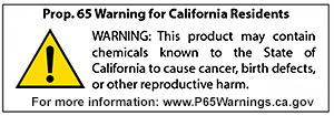 Prop.65 warning for California residents